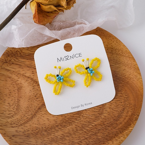 Korean hand-woven yellow beaded butterfly earrings  NHMS369963's discount tags