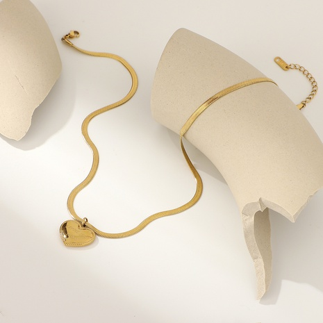 Fashion heart-shaped pendant snake bone chain stainless steel necklace NHJIE369978's discount tags