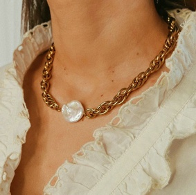 fashion gold-plated stainless steel thick chain pearl necklace NHJIE369983