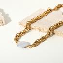 fashion goldplated stainless steel thick chain pearl necklace NHJIE369983