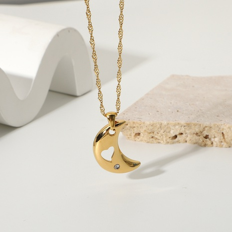 simple stainless steel gold-plated moon star diamond necklace  NHJIE369984's discount tags
