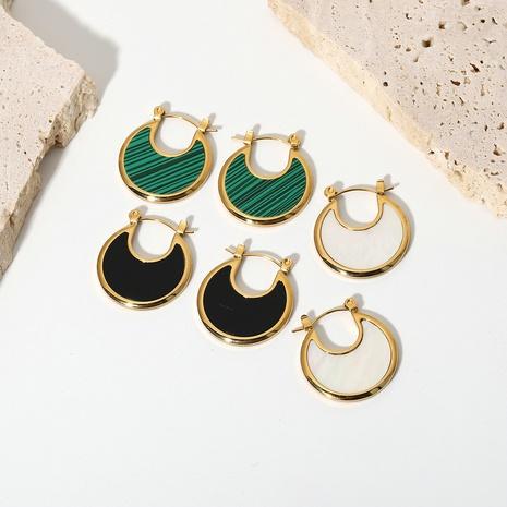 retro moon fan-shaped malachite white shell stainless steel earrings  NHJIE369985's discount tags