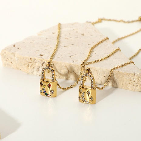 fashion stainless steel metal zircon lock pendant necklace  NHJIE369988's discount tags