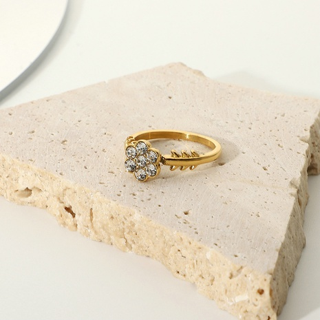 fashion snowflake gold-plated zircon stainless steel ring  NHJIE369990's discount tags