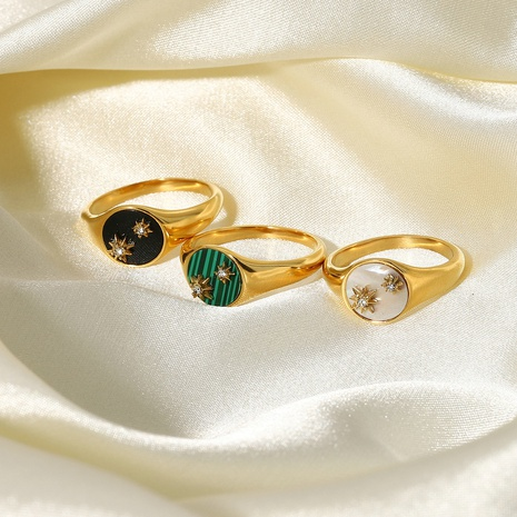 fashion white shell malachite eight-star stainless steel ring  NHJIE369993's discount tags