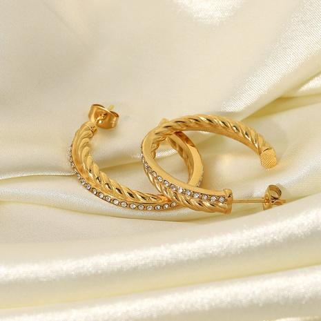 retro twist pattern C-shaped stainless steel earrings NHJIE369995's discount tags