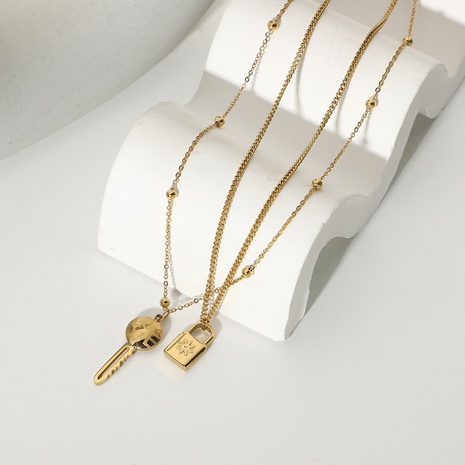fashion lock key pendant doubkle-layer stainless steel necklace  NHJIE369997's discount tags