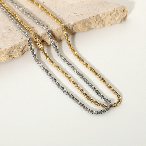 new sparkling glitter stainless steel clavicle chain NHJIE369998's discount tags