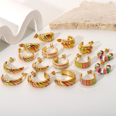 retro color stripe geometric stainless steel earrings NHJIE370002's discount tags