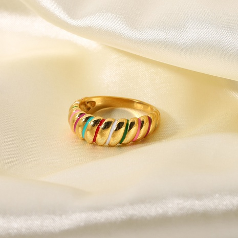 simple color croissant stainless steel ring  NHJIE370001's discount tags