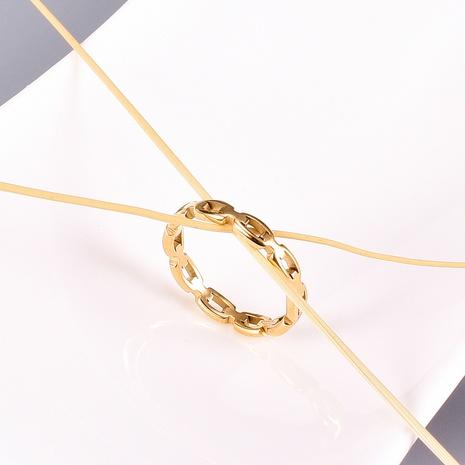 fashion hollow square chain titanium steel fine ring NHAB370052's discount tags