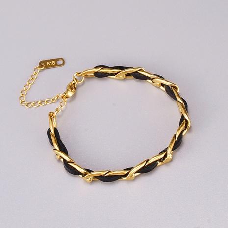 pulsera de acero de titanio de cuerda de cuero de moda NHAB370053's discount tags