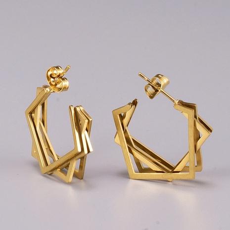 Korean Fashion Irregular Square Titanium Steel Earrings   NHAB370075's discount tags