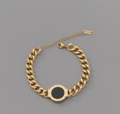 Retro Roman numerals black gemstone titanium steel bracelet NHAB370076's discount tags