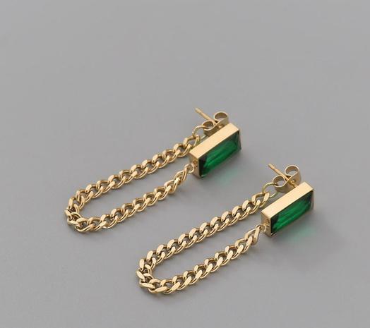 fashion turquose tassel titanium steel earrings  NHAB370086's discount tags