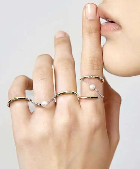 Korean pearl chain multi-wear titanium steel ring NHAB370087's discount tags