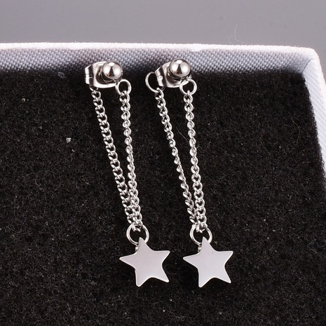 retro silver five-pointed star pendant titanium steel earrings NHAB370094's discount tags