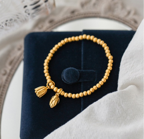 retro style lotus small gold bead bracelet Wholesale  NHAB370103's discount tags