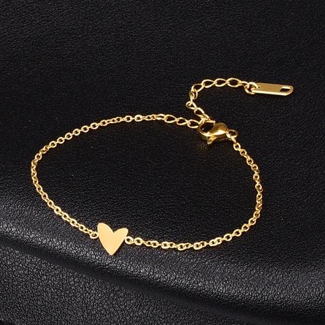 retro irregular small heart shape geometric titanium steel bracelet  NHAB370104's discount tags