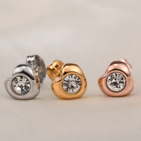 Fashion Small Heart Shape Diamond Titanium Steel Earrings  NHAB370105's discount tags