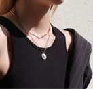 Fashion White Fritillary Moon Pendent Irregular Medium Long Necklace NHAB370109