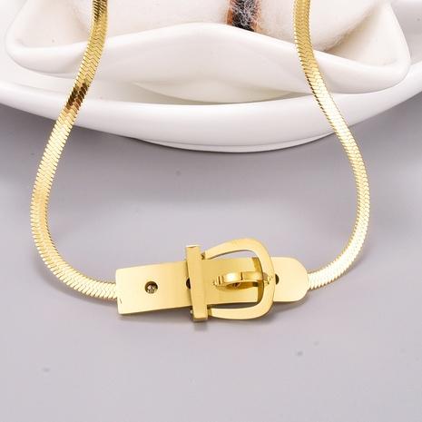 Collar de acero de titanio con cadena de hueso de serpiente con hebilla de cinturón retro NHAB370116's discount tags