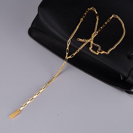 Al por mayor collar de perlas de cadena rectangular de oro de acero titanio. NHAB370117's discount tags