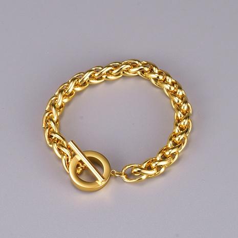 simple thick chain OT buckle titanium steel bracelet wholesale  NHAB370118's discount tags