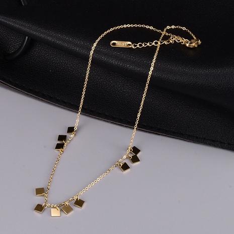 collar de acero de titanio colgante de borla cuadrada de moda NHAB370120's discount tags