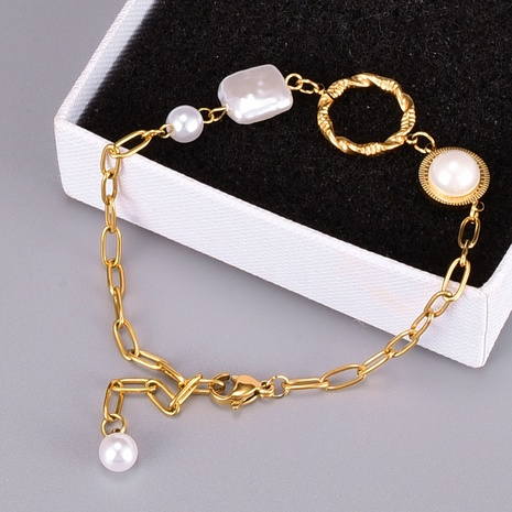 Baroque style special-shaped pearl bracelet  NHAB370121's discount tags
