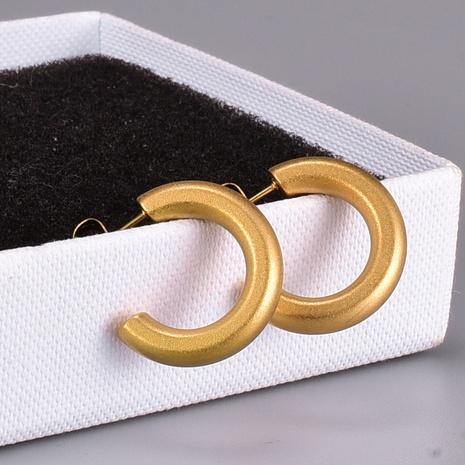 retro sandblasted C-shaped titanium steel earrings  NHAB370128's discount tags