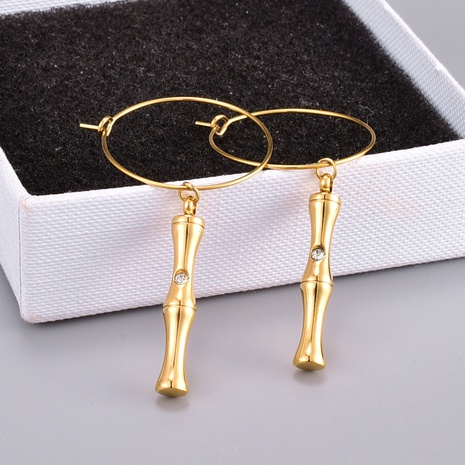 fashion sparkling bamboo joints chain titanium steel earring  NHAB370129's discount tags