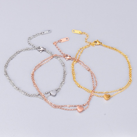 fashion heart shape plated gold titanium steel anklet  NHAB370130's discount tags