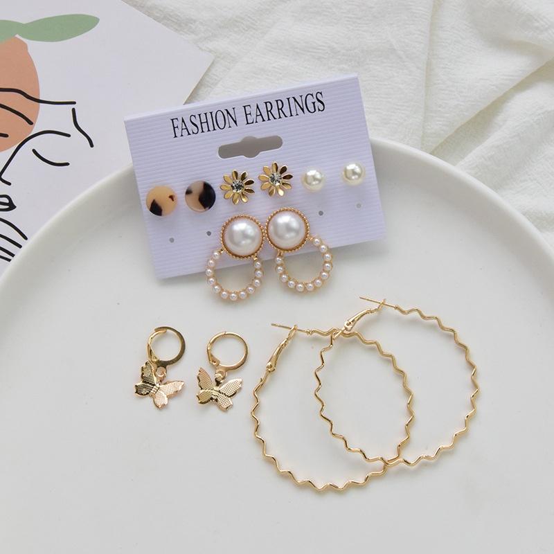 Fashion 6 pairs pearl butterfly flower diamond ear hoop set NHSD370307