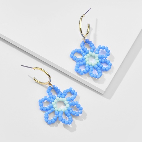 Retro Rice Bead Knitted Flower Earrings NHLU370415's discount tags