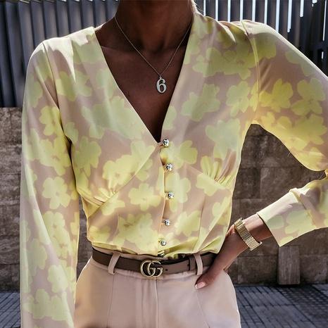 Sommer Damenmode Lose V-Ausschnitt Bedrucktes Langarmshirt NHWA372216's discount tags