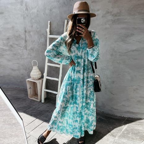 Summer new loose V-neck print drawstring big swing dress NHWA372222's discount tags
