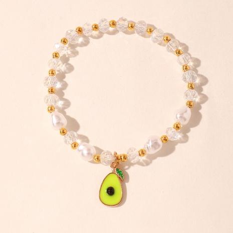 Korean Style Glass Crystal Bead Cute Fruit Avocado Pendant Bracelet NHNZ370450's discount tags
