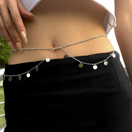 fashion copper sequins double-layer tassel rhinestone waist chain   NHXR370470's discount tags