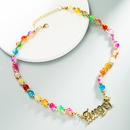 new alloy letter pendant colorful glass resin necklace  NHLN370493