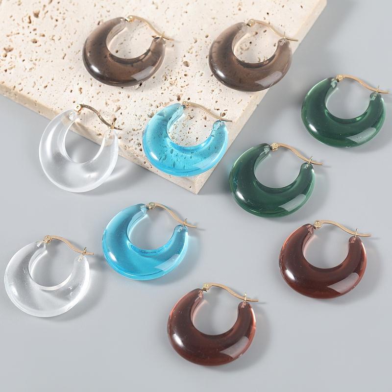 fashion simple notch round resin earrings  NHJE370502