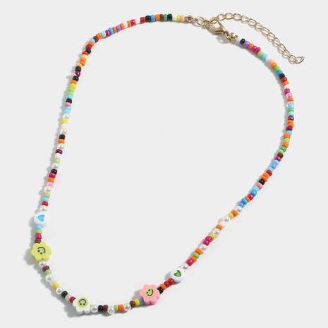 Mode Smiley Herzkette Perlen Kontrastfarbe Halskette NHJQ370567's discount tags