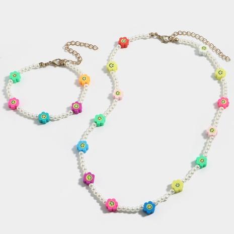 Modeperle handgemachte weiche Keramik Smiley Halskette Armband Set NHJQ370569's discount tags