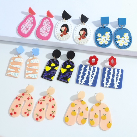 Fashion geometric color flower resin earrings  NHJQ370574's discount tags