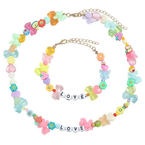 New beaded fruit animal letter splicing chain necklace bracelet set NHJQ370581's discount tags