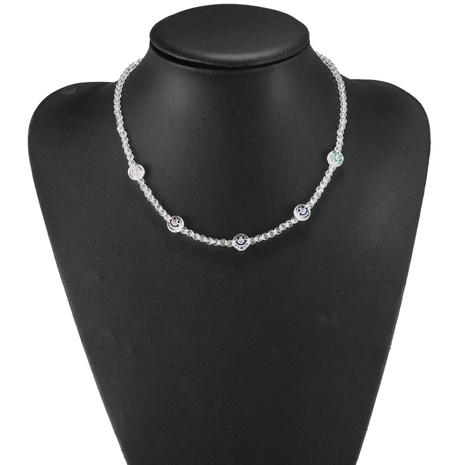 Neues kontrastfarbenes Smiley-Gesicht aus Acryl mit runder Perlenkette und Armband NHJQ370595's discount tags