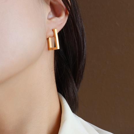 simple rectangular titanium steel 18k gold plated ear clip NHOK370600's discount tags
