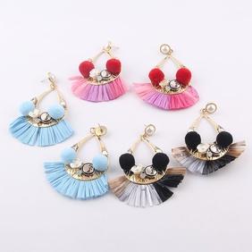 Bohemian style water drop fan-shape long earrings NHWJ370638