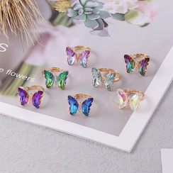 fashion gradient butterfly copper adjustable ring  NHBW370654