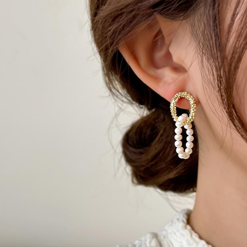 Korean metal pearl geometric drop earrings  NHOT370714